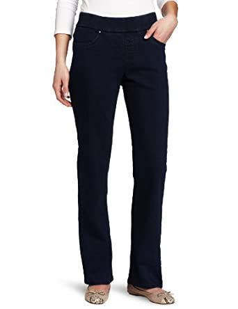 Lee Women's Natural Fit Pull On Stretch Demi Pant Barely Bootcut, Neptune, 4 Petite
