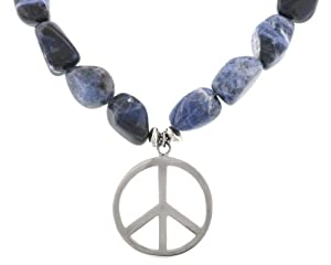 Sterling Silver and Sodalite Peace Sign Beaded Necklace, 16""