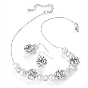 Ladies Marvellous Fashion Design Silver Pearl Colour Diamante Set Brand New