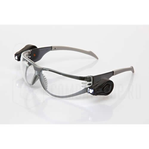 Aosafety Virtua Light Vision Safety Glasses With Dual Led Lights - Aosafety Virtua Light Vision Safety Glasses With Black Temple Frame Clear Anti-Fog Lens And Dual Led Lights - 11356-00000