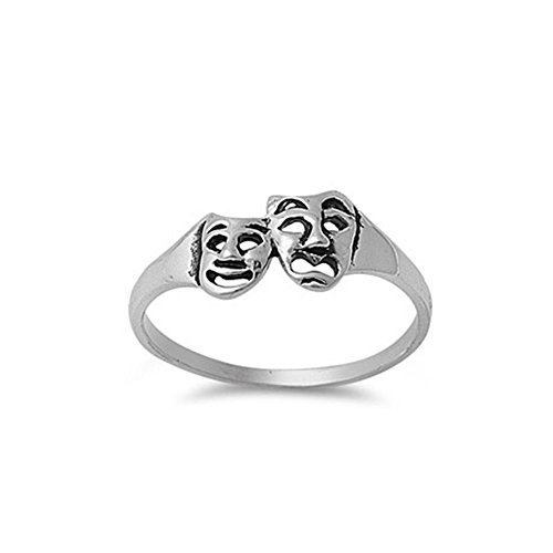 Noureda Sterling Silver Smile Now Cry Later Ring with Face Height of 7MM (Smile Now Cry Later Ring compare prices)