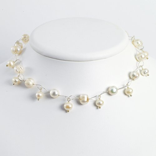 Sterling Silver White Freshwater Cultured Pearl Necklace - 18 Inch