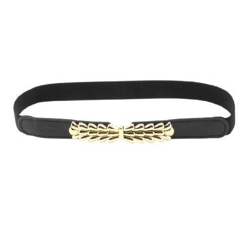 2.5cm Wide Lady Interlocking Buckle Textured Spandex Waist Cinch Belt