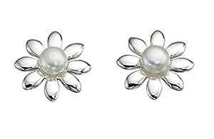White Freshwater Pearl Flower Stud Earrings In Sterling Silver
