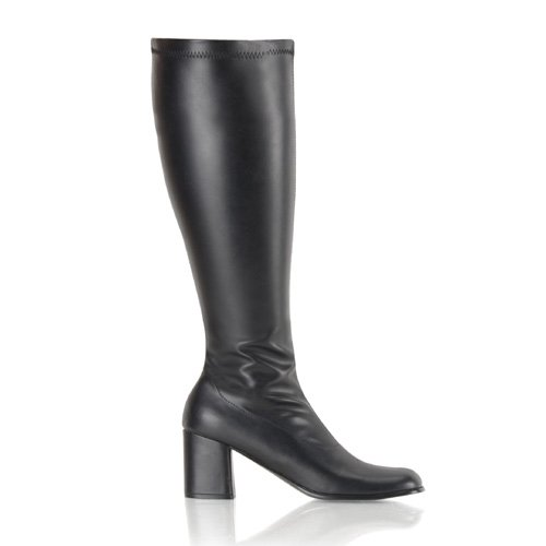 Womens Knee High Boots GOGO 3 Inch WIDE CALF Sexy Block Heel Knee Boot Black
