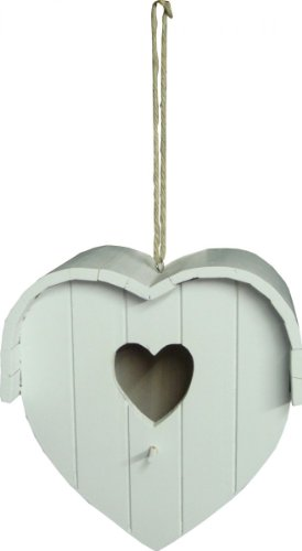 Outdoor Living Wooden Heart Shaped Hanging Bird Nesting Box PO/18201 White