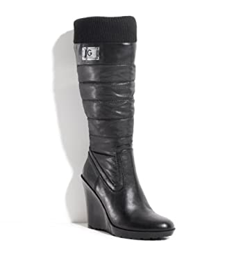 Guess Women's Easiest Knee High Wedge Boots in Black Size 6.5