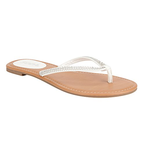 SODA Bling Womens Sandals, White, 8 (Sandals By Soda compare prices)