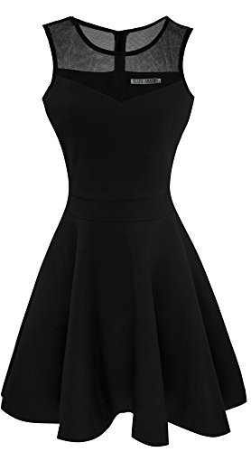 Heloise Women's A-Line Sleeveless Pleated Little Black Cocktail Party Dress (M, Black)