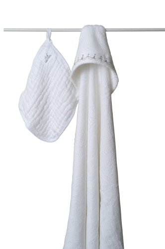 aden + anais Towel with Muslin Washcloth, White (Previous Version) (Discontinued by Manufacturer)