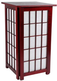 "Excellent Quality Simple Floor Lamp - 27"" Tall Asian Design Hokkaido Table / Nightstand Lantern - ROSEWOOD"
