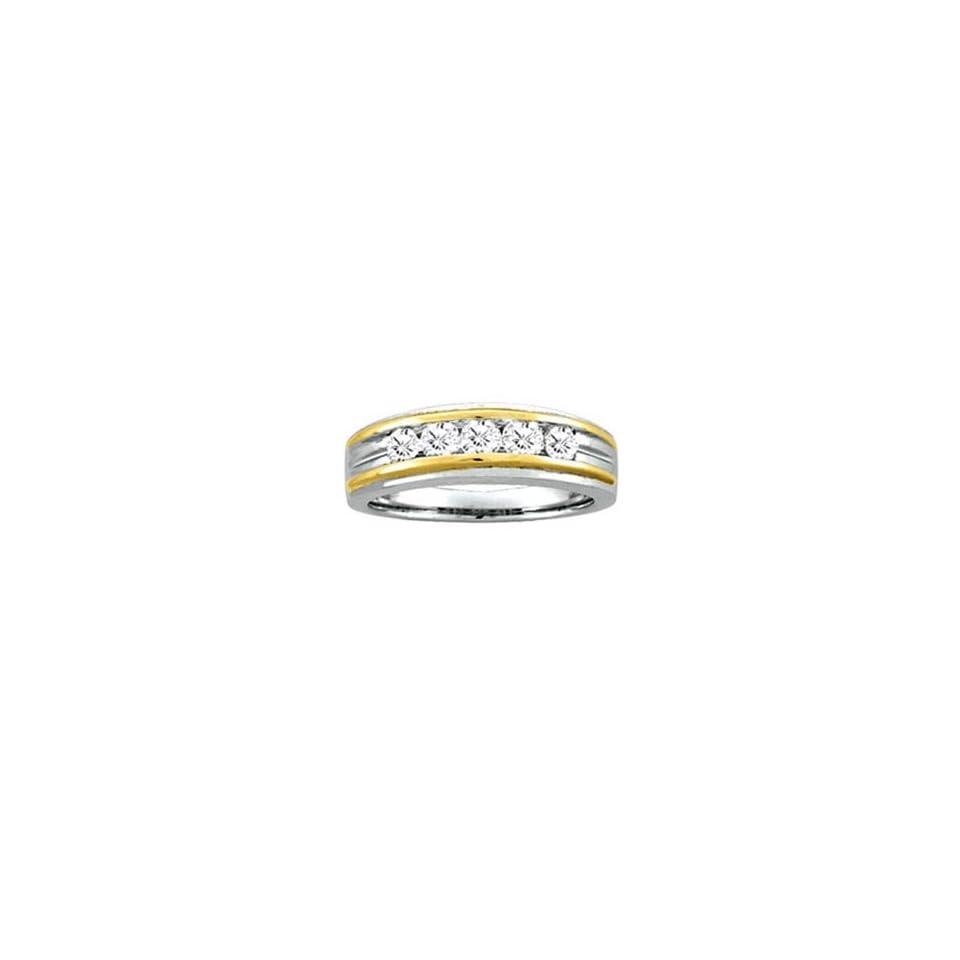 Mens 1/2 Carat Diamond 14k Two Tone Gold Wedding Ring