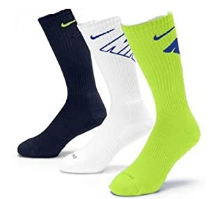 Mens Nike Dri Fit Sock Cotton Soft Dry Colored Socks Size 8-12 3 Pair Pack by Nike