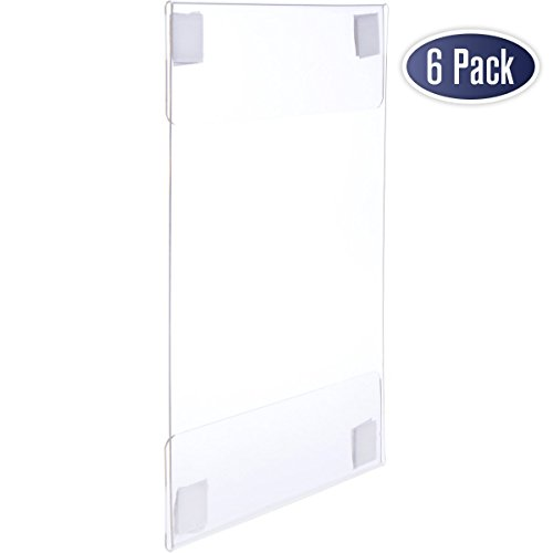 Acrylic Sign Holder with Velcro Adhesive, 8.5 x 11 inches - Portrait or 11 x 8.5 inches - Landscape, Clear Wall Mount Frame with Easy Installation, Perfect for home, office, store, restaurant (6 Pack)