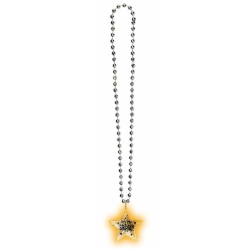 Amscan Elegant Beaded Necklace with A Lighting Up Pendant, Silver/Black, 19""