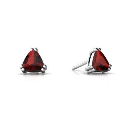 Jewels For Me 14K White Gold Trillion Genuine Garnet Stud Earrings