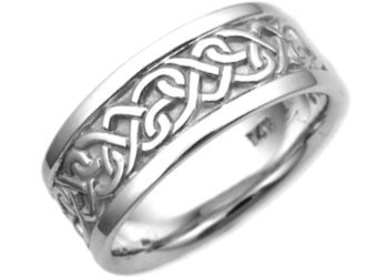 14K. White Gold Celtic Heart Knot Design Comfort Fit Wedding Band Ring