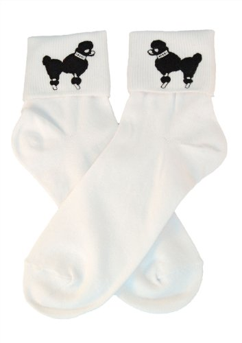 Hip Hop 50S Shop Womens Bobby Sock With Black Poodle Applique- Adult Size White With Black