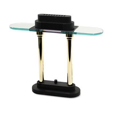 LEDU CORPORATION Halogen Desk Lamp, 15-Inch, Black/Brass Poles