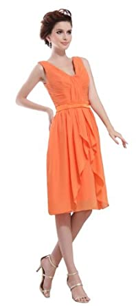 herafa p31276-2 Robes De Bal élégant Col V Sans manche Ruché Au genou A-Ligne Orange