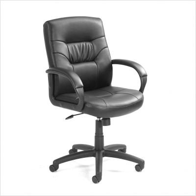 Boss Executive Leatherplus Mid Back Chair with Padded Arm Rests