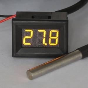 Kimdrox Yellow Led Digital Temp Thermometers Sensor Ds18B20 -55-125°C Air/Water Temperature Measure