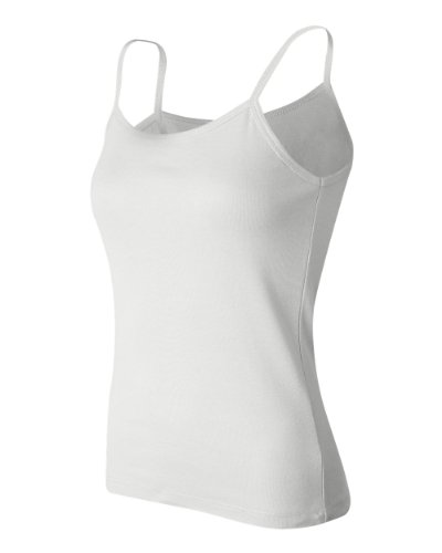 Bella+Canvas Ladies' Baby Rib Spaghetti Strap Tank Top - White - XL