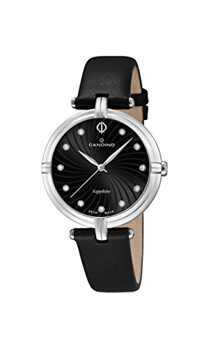 Candino Women's Quartz Watch with Black Dial Analogue Display and Black Leather Strap C4599/2