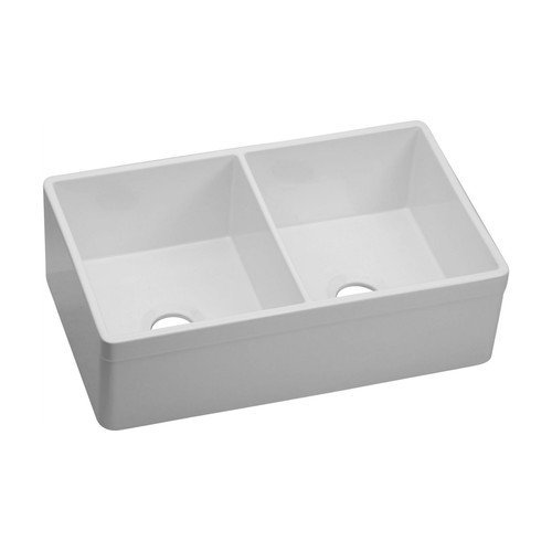 Elkay SWUF32189WH SWUF32189 Explore 19-67/77-Inch x 32-3/4-Inch Double Basin Farmhouse Fireclay Kitchen Sink