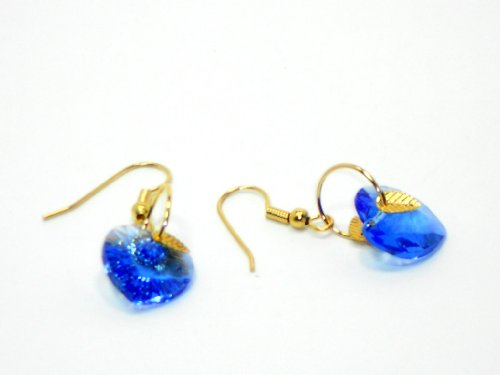 Gold Earrings with Sapphire Swarovski Crystals