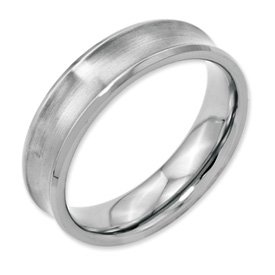 Genuine IceCarats Designer Jewelry Gift Stainless Steel Concave Beveled Edge 6Mm Brushed & Polished Band Size 12.00