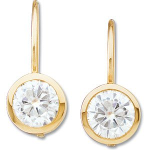 Polished/ 14k Yellow-gold Pair 05.00MM =1 CTTW Moissanite Lever-back earrings