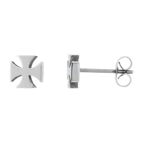 Small Stainless Steel St. John'S Cross / Maltese Cross Stud Earrings, 1/4 Inch
