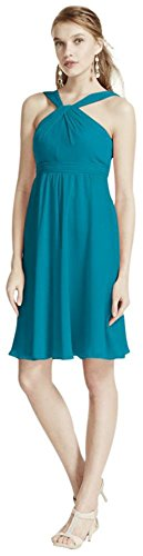 Short Crinkle Chiffon Bridesmaid Dress with Halter Style F15600, Oasis, 6 (Dress Oasis compare prices)