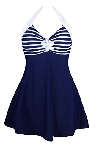 Dokotoo-Womens-Vintage-Sailor-Pin-Up-One-Piece-Skirtini-Cover-Up-Swimdress-FBA