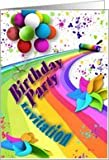 Birthday Invitation - Balloons - Paint Roller - Splattered Paint - Spin Wheels Card