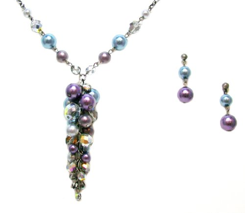 Just Give Me Jewels Antique Silvertone Set of Multi-Color Y Style Pearl Necklace and Post Earrings