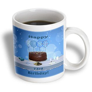 3Drose 73Rd Birthday Party With Chocolate Cake And Blue Balloons Ceramic Mug, 11-Ounce