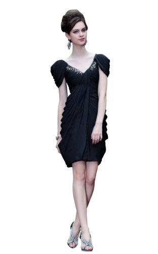 CharliesBridal V-Neck Knee Length Dress with Cap Sleeve - XL - Black