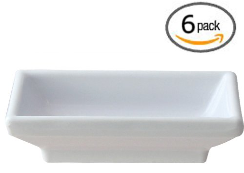 "Set Of 6 - 3¾"" X 2½"" White Melamine Sauce / Side Dish Break-Resistant (2 Oz.) *Nsf* - Dishwasher Top Rack Safe - Commercial Grade - Bundled With A Custom Dough Scraper"
