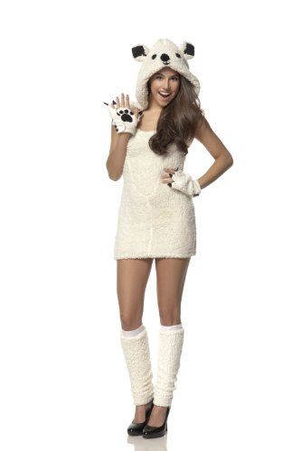Mystery House Costumes Teen Polar Bear, White, Small (Sexy Polar Bear Costume)