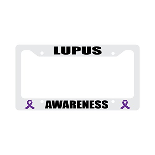 Lupus Awareness Purple Ribbon White Plastic Funny Car License Plate Frame (Lupus License Plate Frame compare prices)