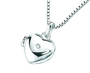 Silver Child's Heart Locket (approx 9mm) with tiny diamond (0.01ct) and 14