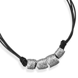 Double Strand Black Leather Necklace with Sterling Silver Abstract Beads
