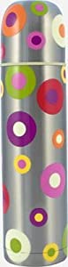 """Pylones Hot or Cold Coffee Travel Thermos Bottle; """"Silver Spots"""", 16 Ounce"""