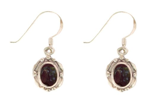 Sterling Silver Black Onyx Oval Earrings with French Wire, Pendant Length 0.88