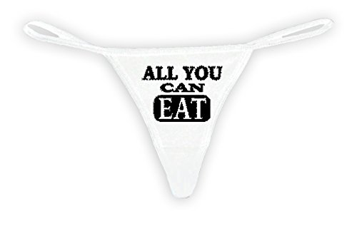 Sexy-Funny-Womens-White-Thong-G-string-Black-All-You-Can-Eat