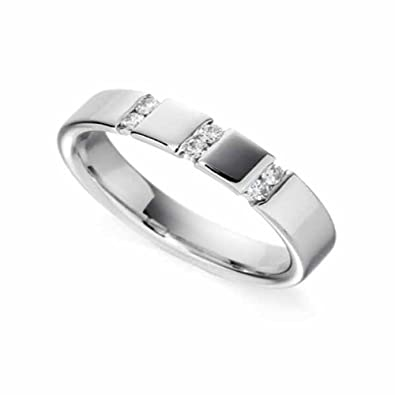 18ct White Gold Diamond Wedding Ring Width 4mm
