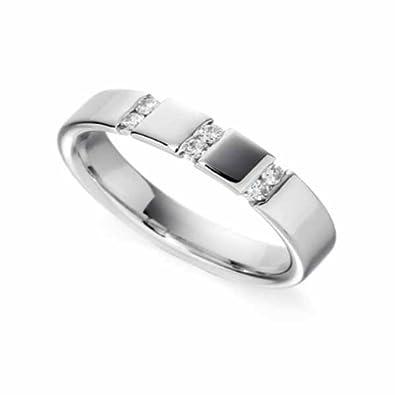 18ct White Gold Diamond Wedding Ring Width 4mm