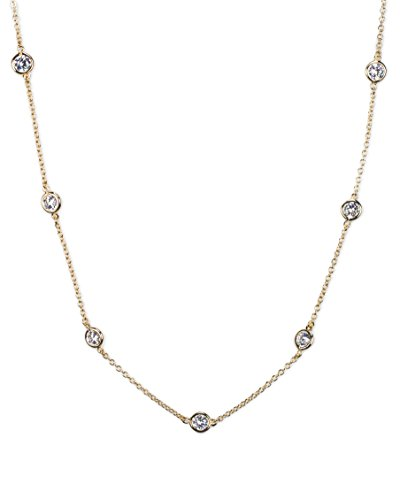 """CZ BY Kenneth Jay Lane 6CTTW Round CZ Stations Gold Plated 16"""" Chain Necklace"""
